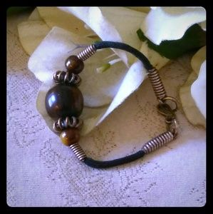 Vintage Brown Lucite Beads Bracelet